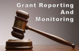 text Grant Reporting and Monitoring with hammer and gavel